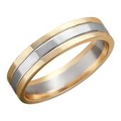Кольцо обручальное с двумя канавками красное золото и белое золото по центру 6 мм
