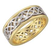 Кольцо обручальное ажурное, желтое и белое золото 7.5мм