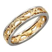 Кольцо обручальное с растительным узором, красное и белое золото
