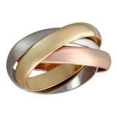 Кольцо обручальное тройное, красное желтое и белое золото 4мм