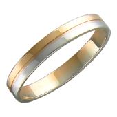 Обручальное кольцо двусплавное, красное и белое золото