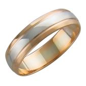 Кольцо обручальное двусплавное с канавками, в центре полоса из белого золота, красное золото 585 проба