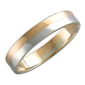 Кольцо обручальное двусплавное, полоса из белого и красного золота