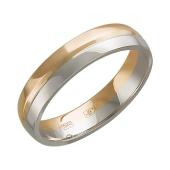 Кольцо обручальное двусплавное, красное и белое золото