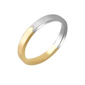 Кольцо обручальное двусплавное с прямоугольным торцом, желтое и белое золото