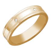 Кольцо обручальное с фианитами из серебра 925 пробы с позолотой
