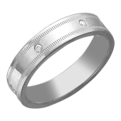Кольцо обручальное с насечками и фианитами, серебро