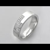Кольцо обручальное с фианитами в прямоугольниках, серебро