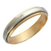 Кольцо обручальное 6 вставок фианит, красное и белое золото ширина 4мм