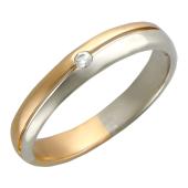 Кольцо обручальное половина шинки белое золото и половина красное золото вставка фианит