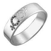 Кольцо обручальное знак Венеры и знак Марс, Мужчина и Женщина, с чёрными и прозрачными фианитами, серебро