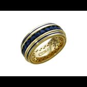 Кольцо обручальное с сапфирами и эмалевой полоской, желтое золото 750 проба