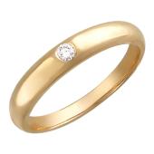 Кольцо обручальное с одним бриллиантом, красное золото 4.6 мм