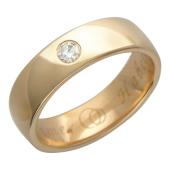 Обручальное кольцо, один крупный бриллиант, гравировка Вместе Навсегда, красное золото 4.8мм