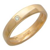Обручальное кольцо, один бриллиант, сверху скосы под углом, красное золото 585 проба 3,7мм