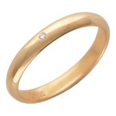 Обручальное кольцо классическое гладкое, один бриллиант, красное золото