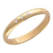 Обручальное кольцо классическое гладкое, три бриллианта, красное золото