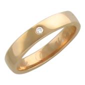 Кольцо обручальное с бриллиантом посередине, красное золото