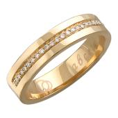 Обручальное кольцо с бриллиантами по шинке, надпись Вместе Навсегда, красное золото