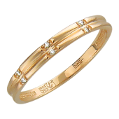 Кольцо обручальное с шестью бриллиантами, красное золото