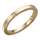 Кольцо обручальное с тремя бриллиантами, квадратное сечение, красное золото