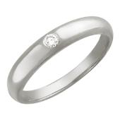 Кольцо обручальное округлое с бриллиантом, белое золото 4.6мм