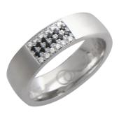 Обручальное кольцо, белое золото 585 пробы, бриллиант черный и классический, широкая шинка, широкий торец, гравировка Вместе Навсегда 5 мм