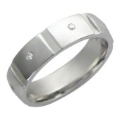 Обручальное кольцо, белое золото, 585 пробы, бриллиант, широкая шинка, широкий торец, прорези поперек шинки 5.5мм