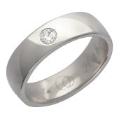 Кольцо, белое золото 585 проба, крупный бриллиант, гравировка Вместе Навсегда, широкий торец 4.8мм