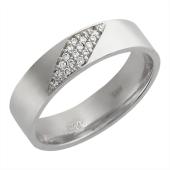 Кольцо, белое золото 585 проба, ромб с бриллиантами, широкий торец, 6.2мм
