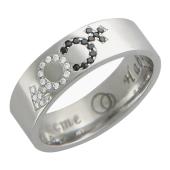Кольцо, белое золото, бриллианты, гравировка Вместе Навсегда, символ мужчина и женщина (Венера и Марс) 5.9мм