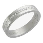 Обручальное кольцо, белое золото 585 пробы, бриллиант, средняя шинка, канавка с 59 бриллиантами, 3.9мм