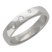 Кольцо обручальное, три бриллианта, гравировка Вместе Навсегда, белое золото, 4 мм