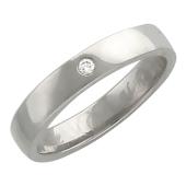 Обручальное кольцо с бриллиантом, белое золото 4мм