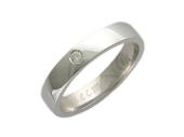 """Кольцо, белое золото, средний бриллиант, гравировка """"Вместе Навсегда"""""""