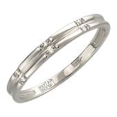 Кольцо обручальное с шестью бриллиантами, белое золото 2.5мм