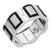 Кольцо с чёрными бриллиантами, белое золото