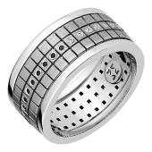 Кольцо обручальное с черными и прозрачными бриллиантами, белое золото