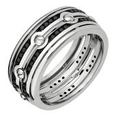 Кольцо мужское с чёрными бриллиантами и винтами, белое золото