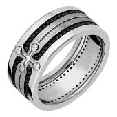 Кольцо мужское с крестом, винтами и чёрными бриллиантами, белое золото
