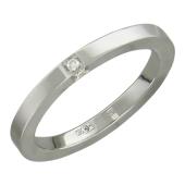 Кольцо обручальное с бриллиантом, белое золото