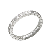 Кольцо обручальное с 12 бриллиантами и матированием, белое золото