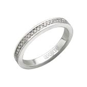 Кольцо обручальное с дорожкой бриллиантов, белое золото