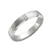 Кольцо обручальное дизайнерское с бриллиантами и широким торцом, белое золото