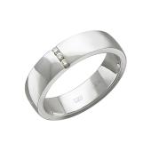 Кольцо обручальное с тремя бриллиантами, белое золото 585 проба
