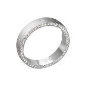 Кольцо обручальное дизайнерское матовое с бриллиантами в торце, белое золото
