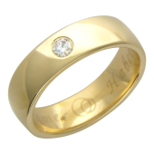 Кольцо обручальное с бриллиантом и гравировкой Вместе Навсегда, жёлтое золото 4.8мм