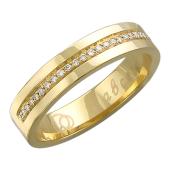 Кольцо обручальное, желтое золото 585 проба, полоса бриллиантов по шинке