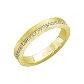 Кольцо обручальное с эффектом матирования и дорожкой бриллиантов по всей шинке, желтое золото 585 проба
