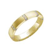 Кольцо с эффектом матирования и вставками бриллиантов по всей шинке, желтое золото 585 проба